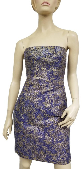Item - Blue and Gold Metallic Short Cocktail Dress Size 4 (S)