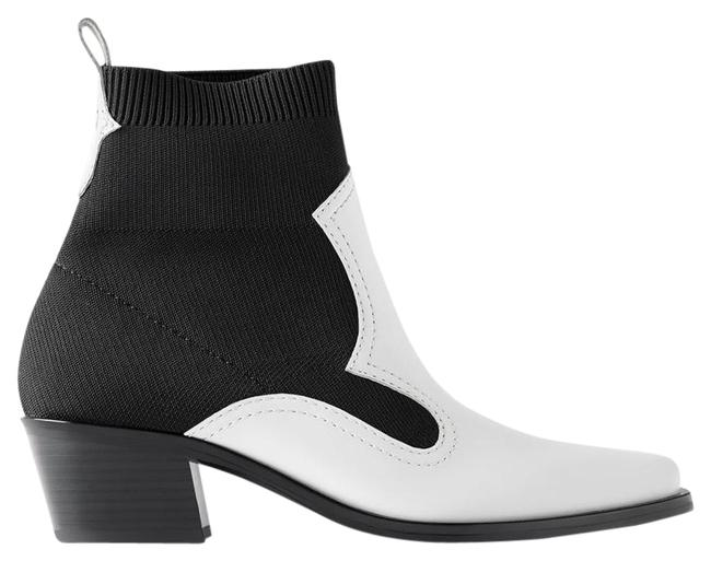 Item - White Contrasting Stretch Heeled Ankle Sock Style Black/White Color New. Boots/Booties Size US 6.5 Regular (M, B)