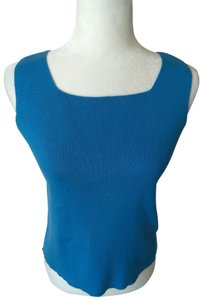 Crystal-Kobe Vintage Shell Sleeveless Classic Top Cyan Blue
