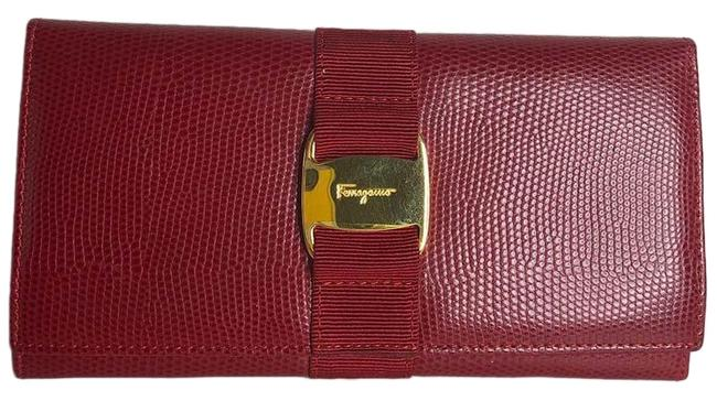 Salvatore Ferragamo Red Vara Snake Embossed Leather Wallet Salvatore Ferragamo Red Vara Snake Embossed Leather Wallet Image 1