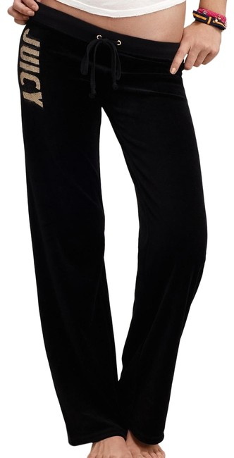 Item - Black Women Leg Velour with Logos Sequin Pants Size 22 (Plus 2x)