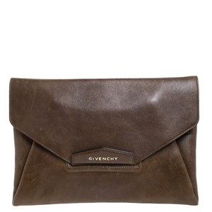 Givenchy Leather Envelope Brown Clutch