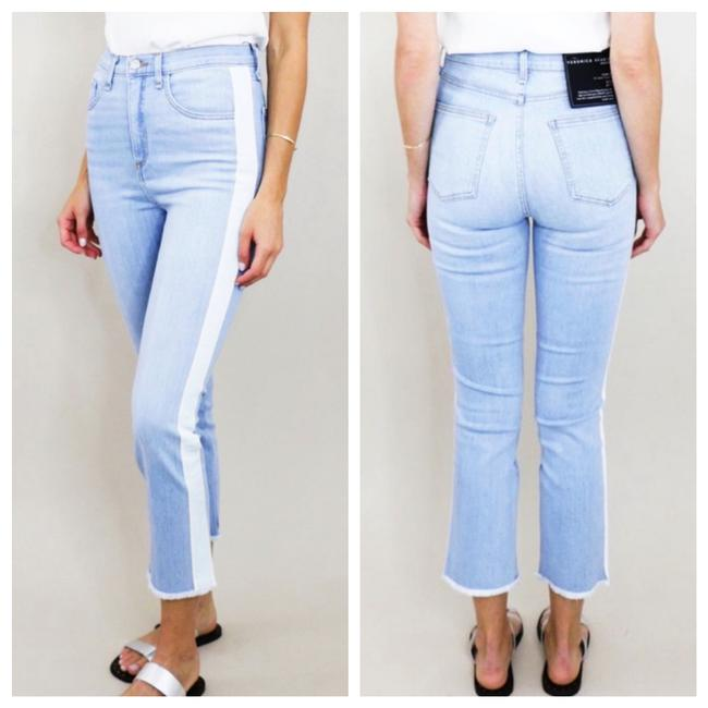 "Item - Blue White Light Wash Carly 11"" Kick Flare Crop with Stripe Capri/Cropped Jeans Size 12 (L, 32, 33)"