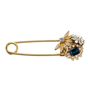 Burberry Floral Crystal Embellished Gold Tone Pin Brooch