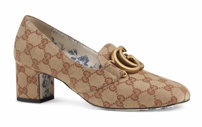 Gucci Beige Victoire Canvas Double Gg Logo Block Mid Heel Mule Loafer Pumps Size EU 38 (Approx. US 8) Regular (M, B) Gucci Beige Victoire Canvas Double Gg Logo Block Mid Heel Mule Loafer Pumps Size EU 38 (Approx. US 8) Regular (M, B) Image 1