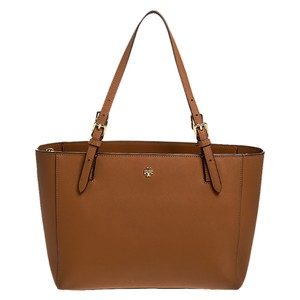 Tory Burch Nylon Leather Tote in Brown