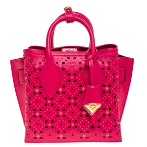 MCM Leather Mini Tote in Pink