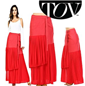 TOV Holy Wrap Maxi Skirt Red