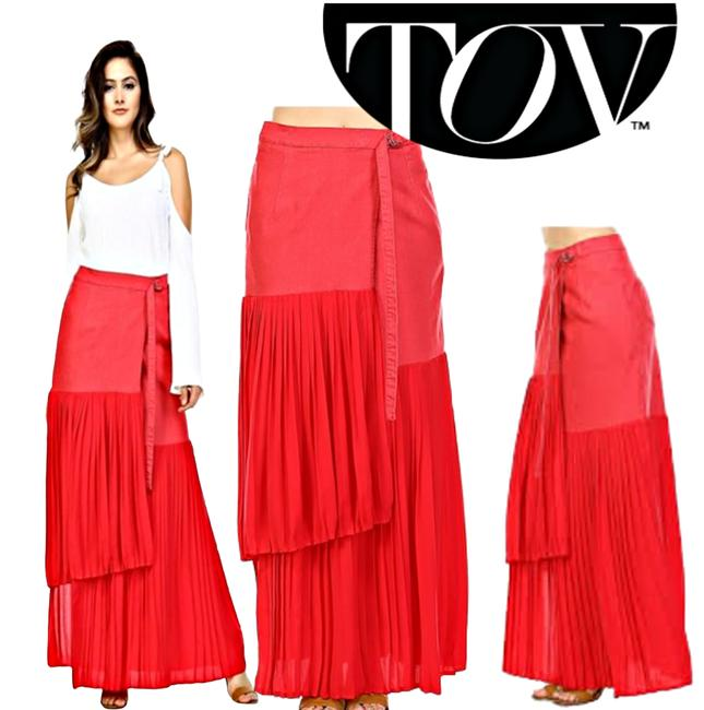 Item - Red Chiffon Pleat Section Tie Front Wrap Skirt Size 2 (XS, 26)