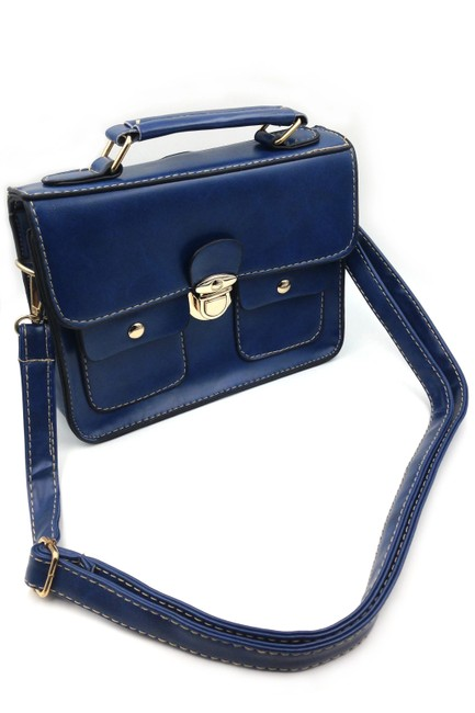 Item - Trendy Tow Sided Small Purse Dark Blue Faux Leather Shoulder Bag