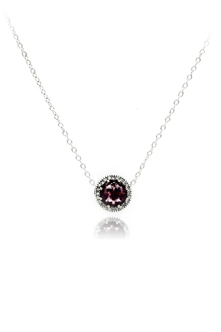 Item - Purple Sterling Silver Heart Crystal Necklace
