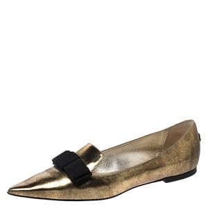 Jimmy Choo Gold Leather Ballet Metallic Flats