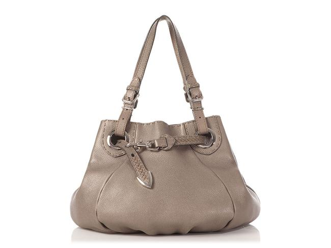 Item - Bucket Belted Selleria Metallic Silver Leather Tote