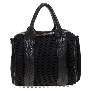 Alexander Wang Fabric Leather Nylon Satchel in Black