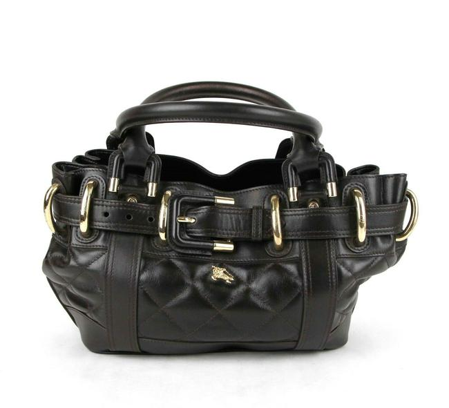 Item - Quilted Handbag with Large Buckle and Gold Logo Dark Brown Leather Tote