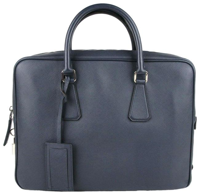 Item - Lux W Saffiano Luggage W/Luggage Tag and Lock Vs0363 Navy Blue Leather Weekend/Travel Bag