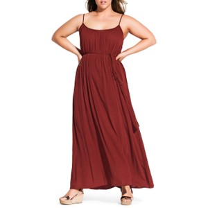 Brown Maxi Dress by City Chic Monochrome Sleeveless Tie Belted