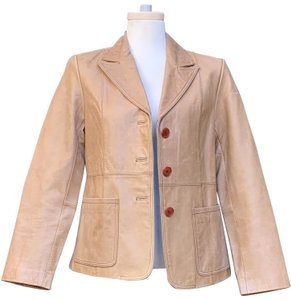 """Barneys Co-Op Sleeves 23.25"""" Armpit To Armpit 19"""" Length @ Rear 25.5"""" Leather Brown Blazer"""