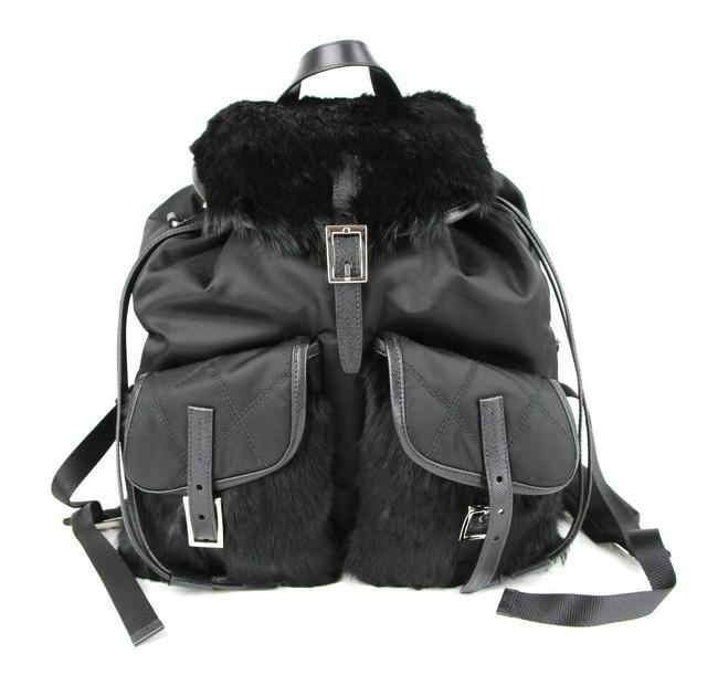 Item - And with 2 Front Pockets and Pull Strings 1bz018 Black Nylon Fur Backpack