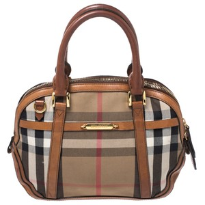 Burberry Fabric Leather Satchel in Beige