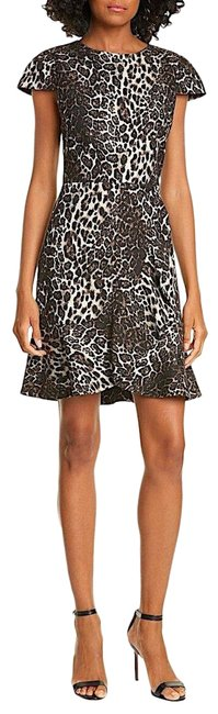 Item - Leopard with Tag Kirby Ruffle Short-sleeve Mid-length Night Out Dress Size 10 (M)