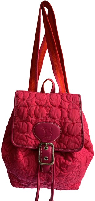 Item - Hot Quilted Pink Orange Leather Backpack