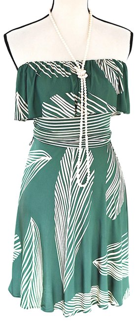 Item - Green Strapless Floral Summer Short Casual Dress Size 4 (S)