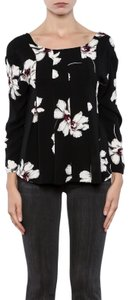 Anama Floral Crepe Top Black