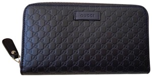 Gucci NWT Brown Leather Micro GG Guccissima Zip Wallet