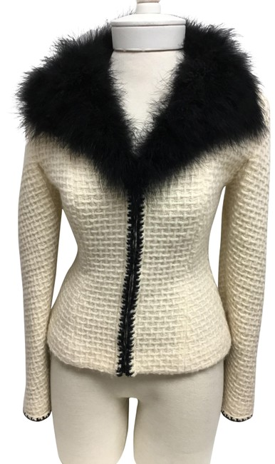 Item - Cream Front with Black Marabou Collar Cardigan Size 4 (S)
