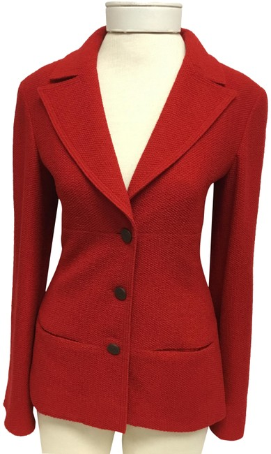 Item - Red Tweed Jacket with Brown Logo Buttons Blazer Size 4 (S)