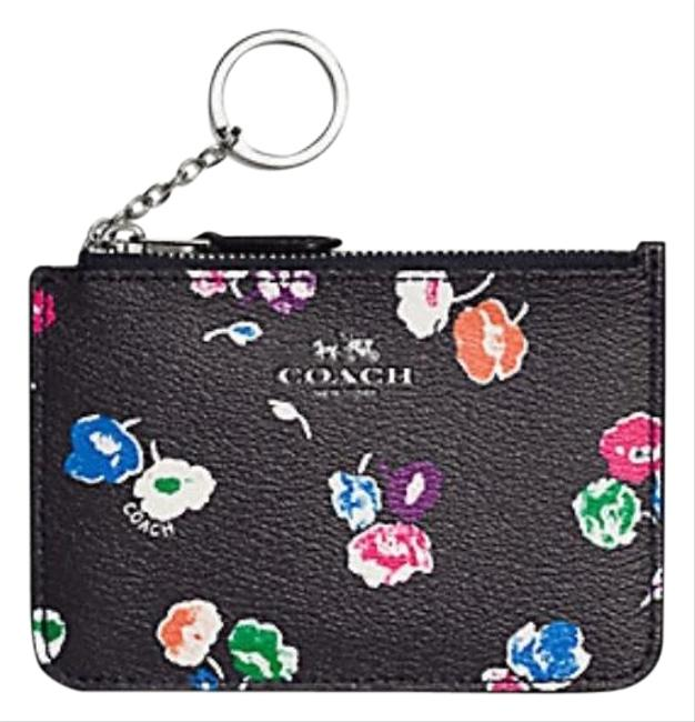 Item - Key Pouch With Gusset In Wildflower Print Coated F65444) Silver/Rainbow Multi Canvas Wristlet