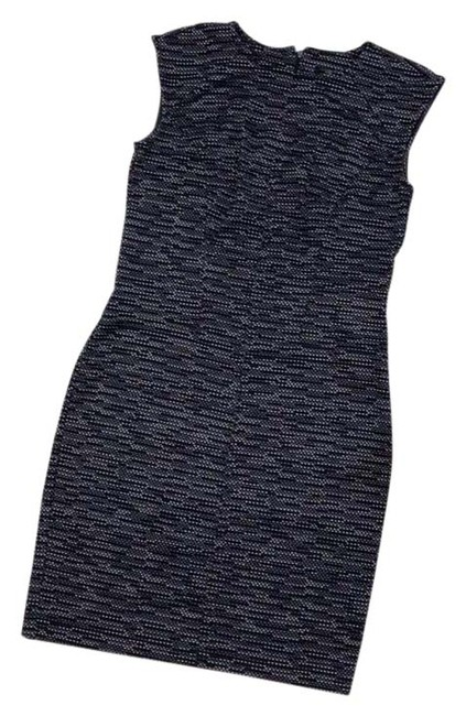 Item - Navy Blue and White Sheath Mid-length Work/Office Dress Size Petite 4 (S)