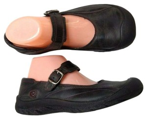 Keen Leather Mary Jane Buckle Comfortable Cap Toe Gray Flats