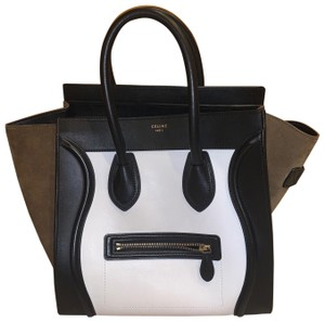Céline Tote in Black, White, Olive/Brown