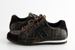 Fendi Brown Suede Coated Canvas Zucca Print Low Top Sneakers Shoes