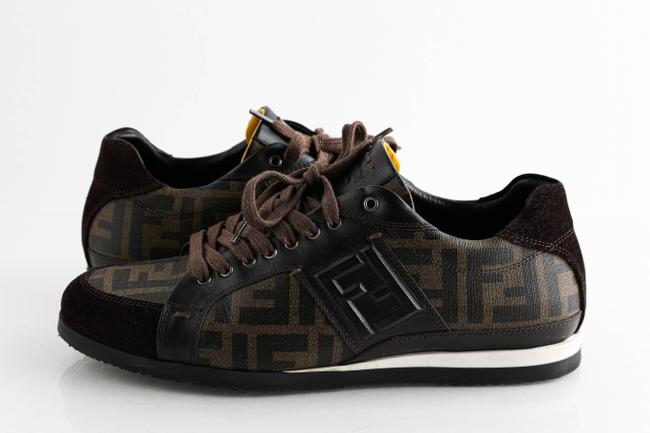 Item - Brown Suede Coated Canvas Zucca Print Low Top Sneakers Shoes