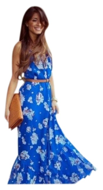 Zara Blue Floral Long Casual Maxi Dress Size 8 (M) Zara Blue Floral Long Casual Maxi Dress Size 8 (M) Image 1