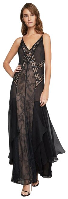 Item - Black Embroidered & Sequined Scrolling Lace Gown Nwt. Long Cocktail Dress Size 4 (S)