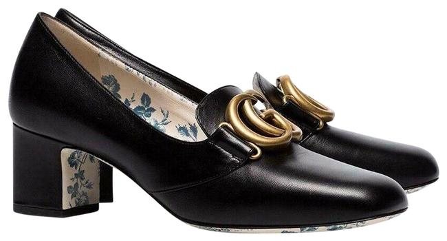 Item - Black Victoire 55 Leather Double Logo Mid Heel Mule Loafer Pumps Size EU 37.5 (Approx. US 7.5) Regular (M, B)