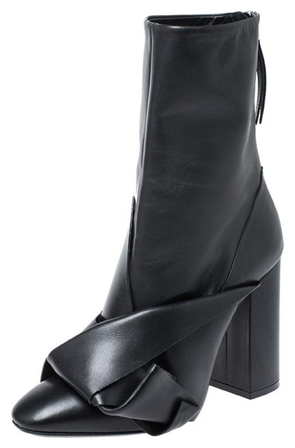 Item - Black Knot Leather Mid Calf Boots/Booties Size US 7.5 Regular (M, B)