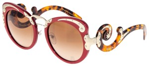 Prada PRADA MINIMAL BAROQUE Swirl PR07TS Red Brown Havana Gold 07T