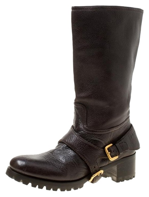 Item - Brown Leather Buckle Detail Calf Length Boots/Booties Size US 6.5 Wide (C, D)