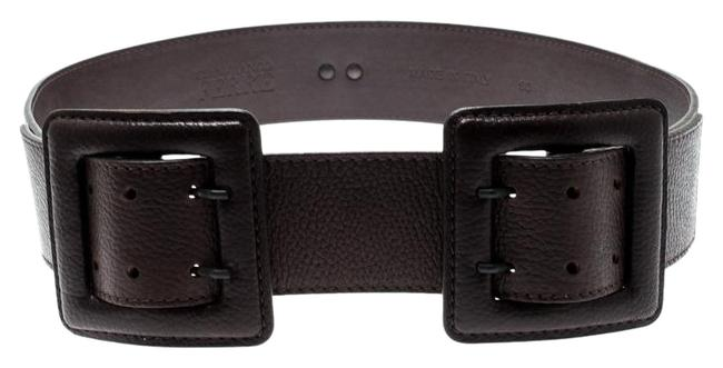 Item - Brown Dark Leather Double Buckle Waist 90cm Belt