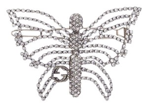 Gucci GG logo crystal butterfly hair clip pin