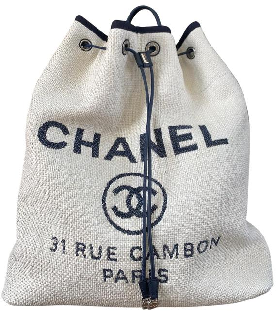 Item - Deauville 17p Blue White Canvas Backpack