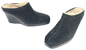 La CANADIENNE Shearling Suede Black Mules