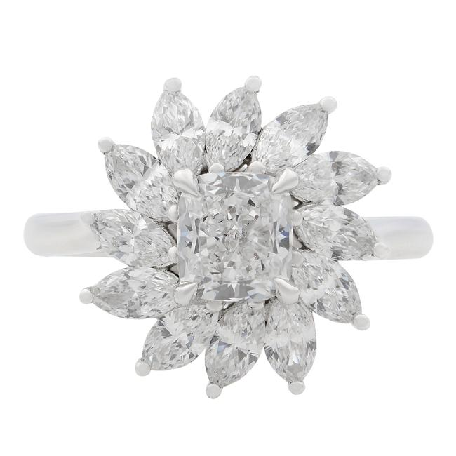 Item - 18k White Gold Cushion and Marquise Cut Diamond Cocktail 2.05ct Ring