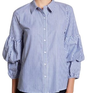 Ro & De Ruched Sleeve Striped Button Down Shirt