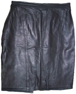 Michelle Stuart Leather Lined Pencil Gothic Sexy Skirt Black